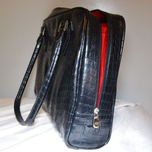 Bags - Classy Black leather Laptop Bag w/ Red interior